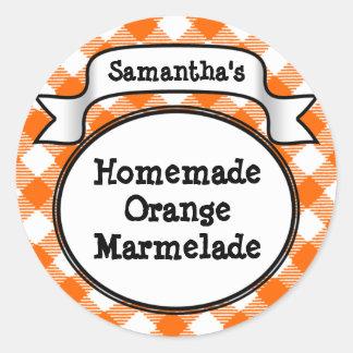Orange Gingham Marmelade Jelly Jam Jar Lid Label Stickers