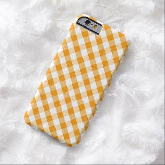 Orange Gingham Pattern Barely There iPhone 6 Case