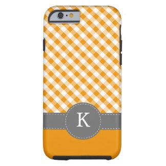 Orange Gingham Pattern Monogram Tough iPhone 6 Case