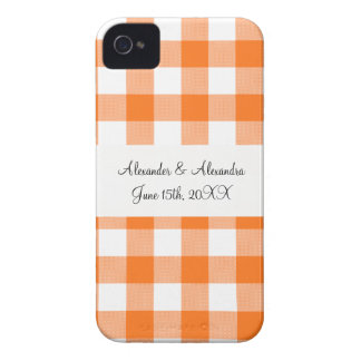 Orange gingham pattern wedding favors Case-Mate iPhone 4 case