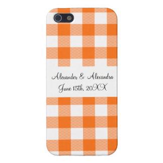 Orange gingham pattern wedding favors cases for iPhone 5