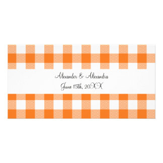 Orange gingham pattern wedding favors photo card template