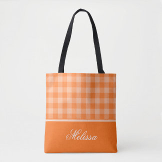 Orange Gingham | Personalized Tote Bag