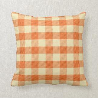 Orange gingham pillow