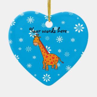 Orange giraffe blue and white snowflakes christmas ornament