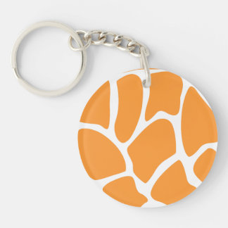 Orange Giraffe Print Pattern. Round Acrylic Keychains