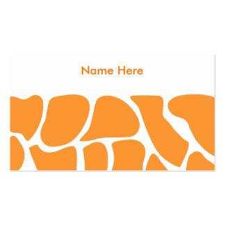 Orange Giraffe Print Pattern. Pack Of Standard Business Cards