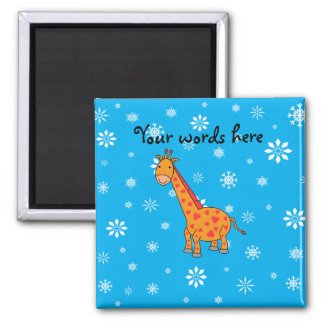 Orange giraffe sky blue white snowflakes pattern square magnet
