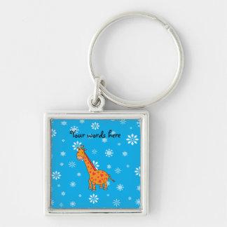 Orange giraffe sky blue white snowflakes pattern Silver-Colored square key ring