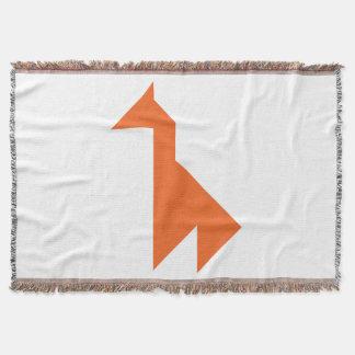 Orange giraffe Tangram Throw Blanket