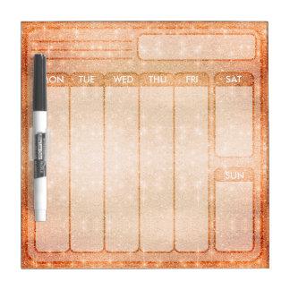 Orange Glitter Days of the Week Weekdays to do Dry Erase Board
