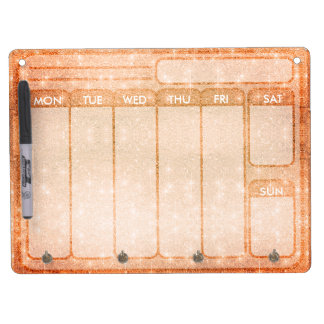 Orange Glitter Days of the Week Weekdays to do Dry Erase Board With Key Ring Holder