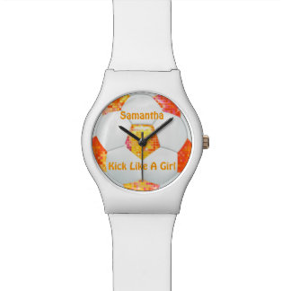 Orange Glitter Disco Soccer Ball Watch