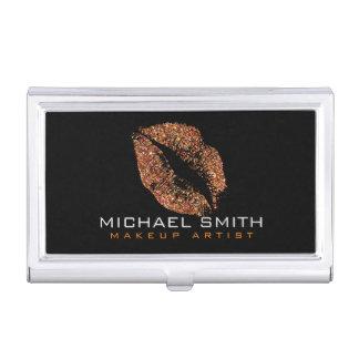 Orange Glitter Lips #4 Business Card Holder