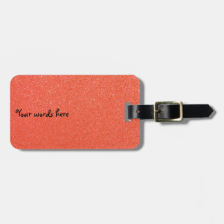 Orange glitter luggage tag
