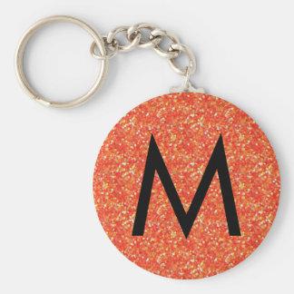 Orange glitter monogram keychain