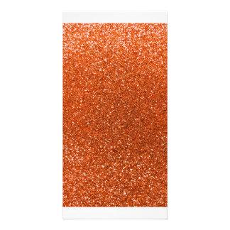 Orange glitter photo greeting card