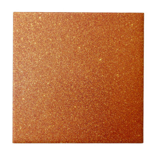 Orange glitter small square tile