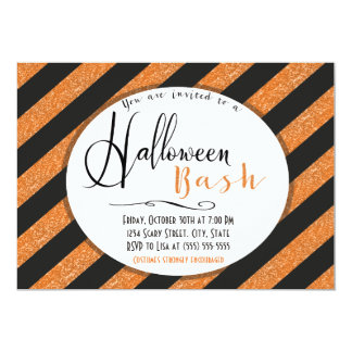 Orange Glitter Stripes Halloween Invitation