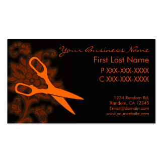 Orange glitter swirl hair cut business cards