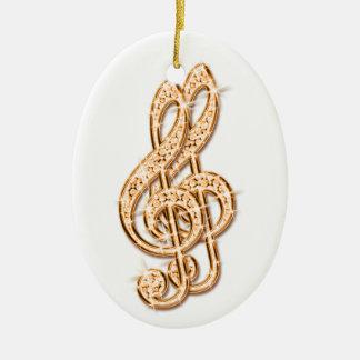 Orange Glitzy Sparkly Diamond Music Notes Ceramic Oval Decoration