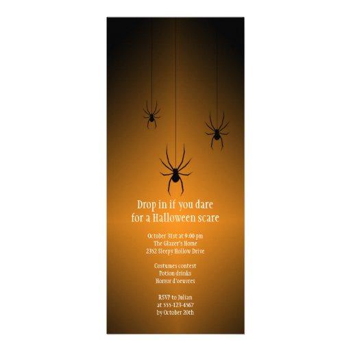Orange glow black spider Halloween invitation card