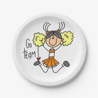 Orange Go Team Cheerleader Paper Plates