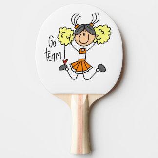 Orange Go Team Cheerleader Ping Pong Paddle