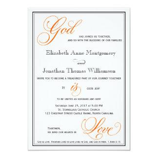 Orange God is Love Christian Wedding Invitations
