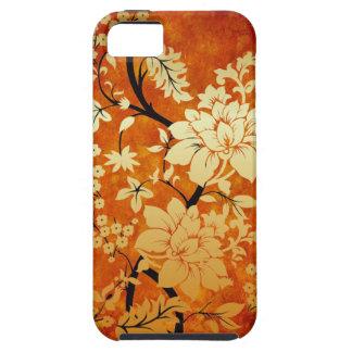 Orange, Gold and Black Floral Oriental Design iPhone 5 Case