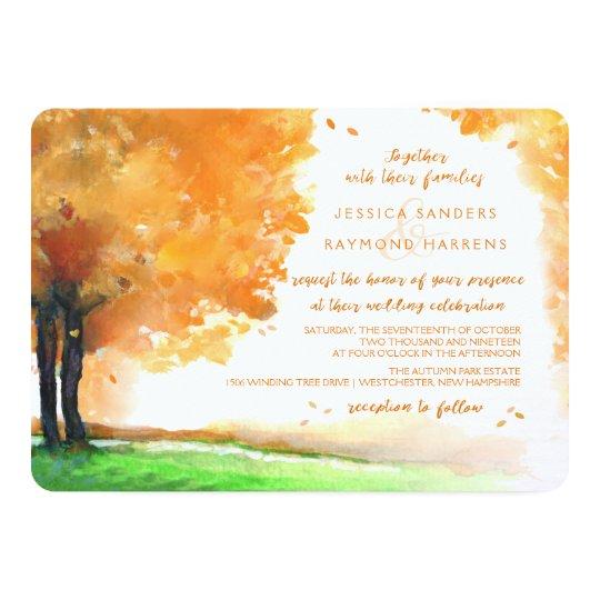 Orange & Gold Autumn Trees Watercolor Wedding Card