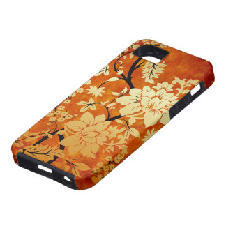 Orange , Gold & Black Floral Oriental style iPhone 5 Case