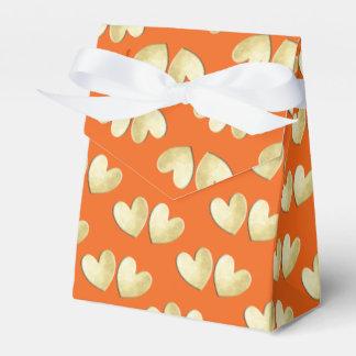 Orange Gold Elegant Classy Love Hearts Wedding Favour Box