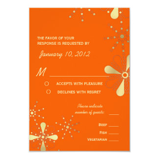 Orange & Gold Indian Inspired RSVP Meal Options 9 Cm X 13 Cm Invitation Card