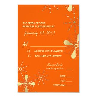 Orange & Gold Indian Inspired RSVP Meal Options Card