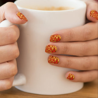 Orange Gold ZigZag Abstract Fingernail Transfers