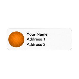Orange Golf Ball Return Address Label