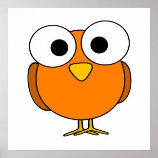 Orange Googly Eye Bird Poster