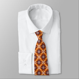 Orange Gradient Retro Mosaic Pattern Tie