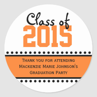 Orange Graduation Year Favor Label Stickers