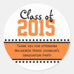 Orange Graduation Year Favour Label Stickers