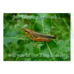 Orange Grasshopper Ring Bearer Request Card