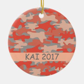 Orange Gray Camo Camouflage Name Personalized Christmas Ornament