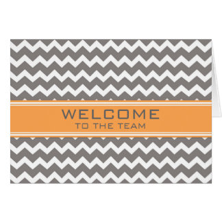 Orange Gray Chevron Employee Welcome to the Team Card
