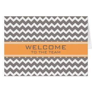 Orange Gray Chevron Employee Welcome to the Team Card