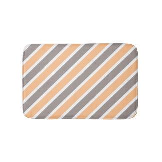 Orange Gray Diagonal Stripes Bath Mat