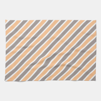 Orange Gray Diagonal Stripes Tea Towel