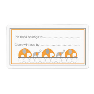 Orange & Gray Elephants Bookplate Fill-in style