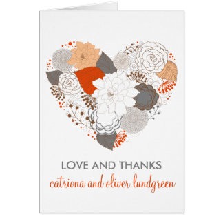 Orange & Gray Heart Flowers Wedding Thank You Card