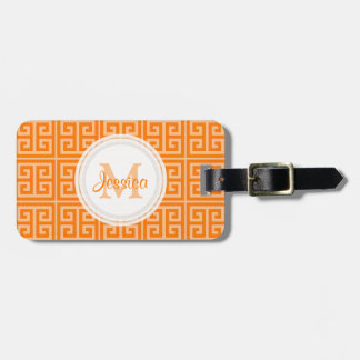 Orange Greek Key Pattern Luggage Tag